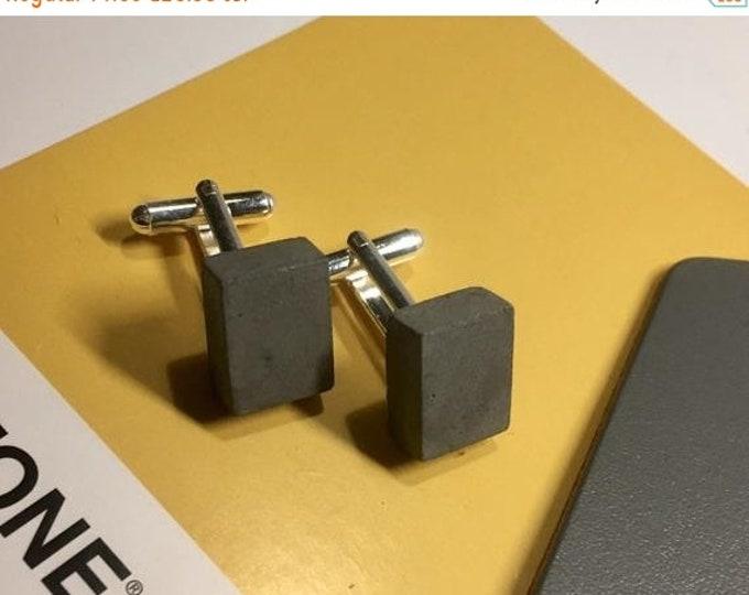 Sale Black Concrete Cufflinks Rectangular// Architectural Cufflinks// Brutalist Cufflinks