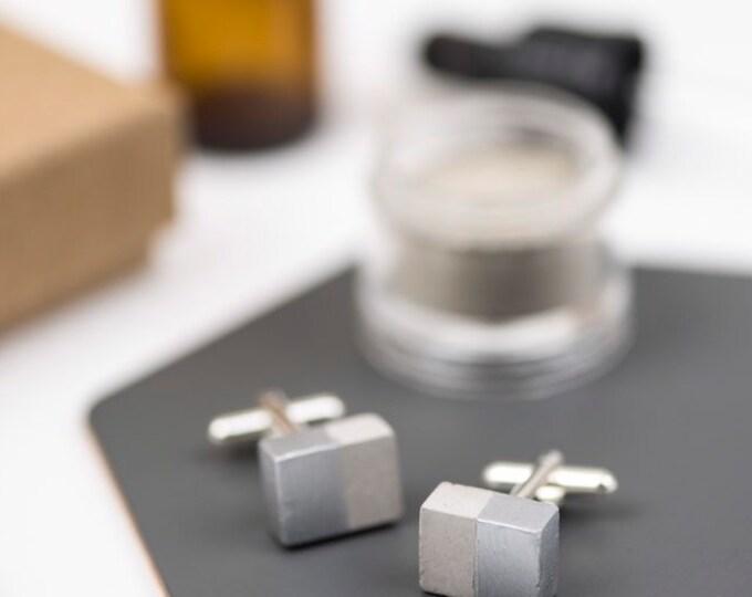 Concrete Cufflinks Rectangular - Silver Dipped//Geometric Cufflinks//Architectural Cufflinks//Groomsmen Gift