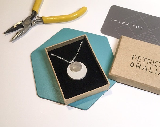Concrete and Silver Disc Necklace// Concrete Necklace // Architectural Necklace // Brutalist Necklace//Silver Disc Necklace