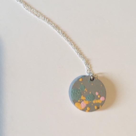 Concrete Coloursplash Disc Necklace //Concrete Necklace //Coloursplash Necklace// Architectural Necklace