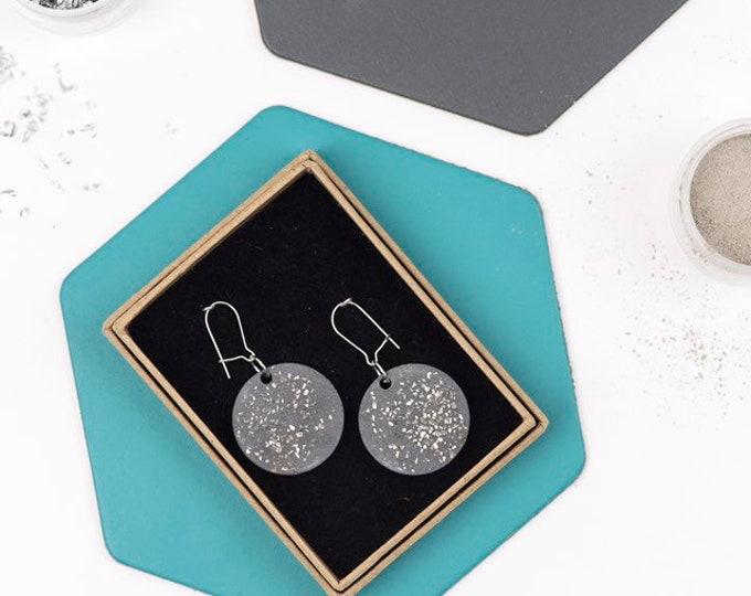 Concrete and Silver Disc Earrings//Concrete Hanging Earrings// Architectural Earrings// Brutalist Earrings