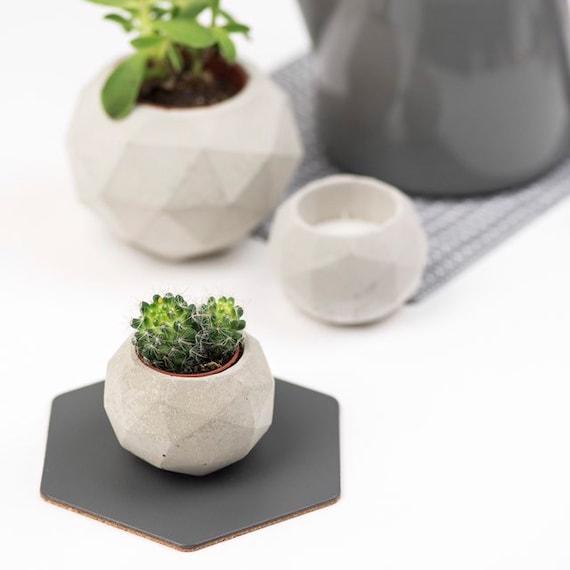 Geodesic Concrete Planter: Geodesic Sphere Concrete Planter/ Tealight Holder Small
