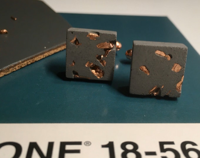 Black Concrete and Copper Cufflinks //Industrial Cufflinks // Brutalist Cufflinks