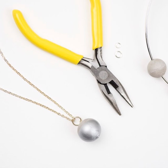 Concrete Sphere Necklace Medium - Silver Dipped //Concrete Sphere // Concrete Ball // Wrecking Ball Necklace