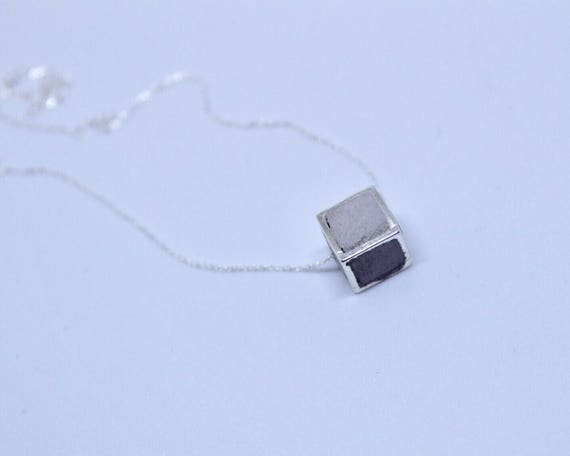 Concrete Filled Silver Hollowcube Necklace//Concrete and Silver Necklace//Concrete Cube Necklace