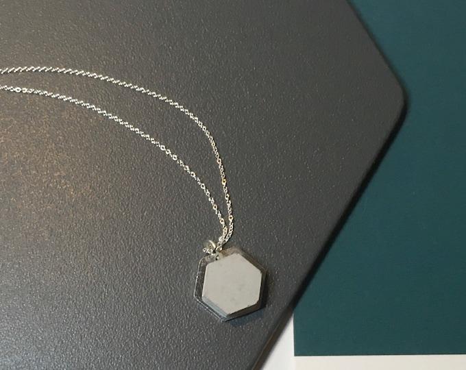 Concrete and Silver Hexagon Necklace// Concrete Necklace//Geometric Necklace