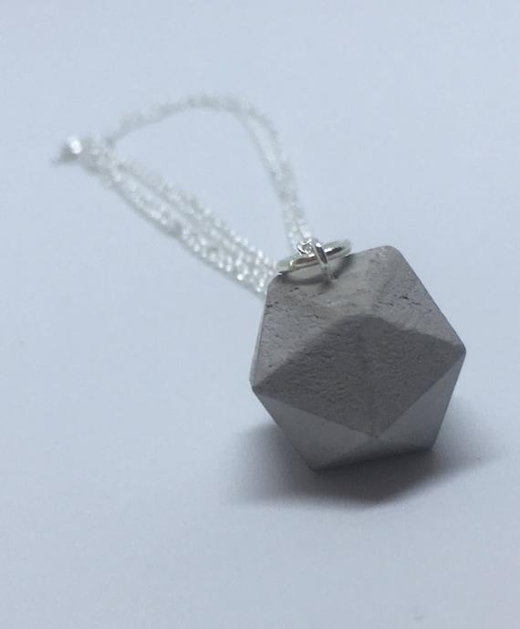 Concrete Icosahedron Necklace //Geometric Necklace//Concrete Necklace//Brutalist//Platonic Solids Necklace