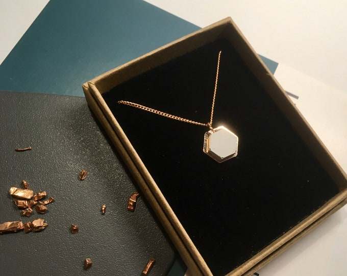 Concrete and Copper Hexagon Necklace// Concrete Necklace//Geometric Necklace