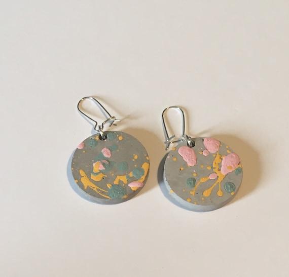 Concrete Coloursplash Disc Earrings //Concrete Earrings //Coloursplash Earrings//Architectural Earrings
