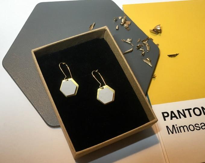 Concrete and Gold Hexagon Earrings//Concrete Earrings//Geometric Earrings