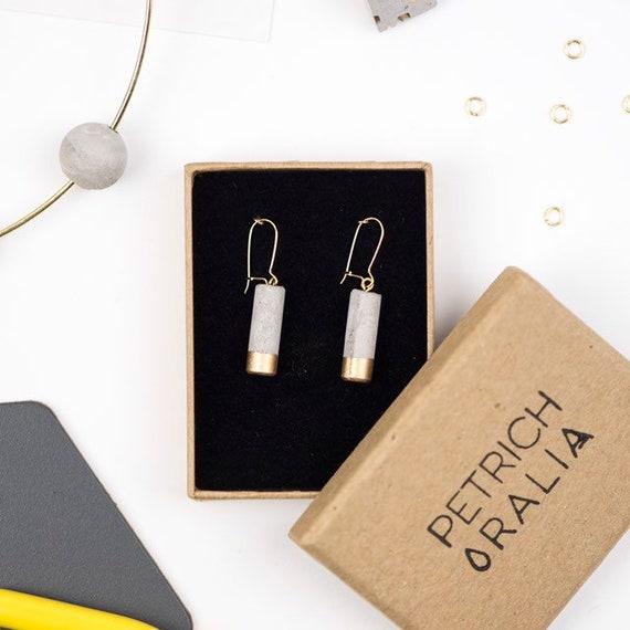 Concrete Mini Column Earrings - Gold Dipped// Concrete Earrings // Brutalist Earrings