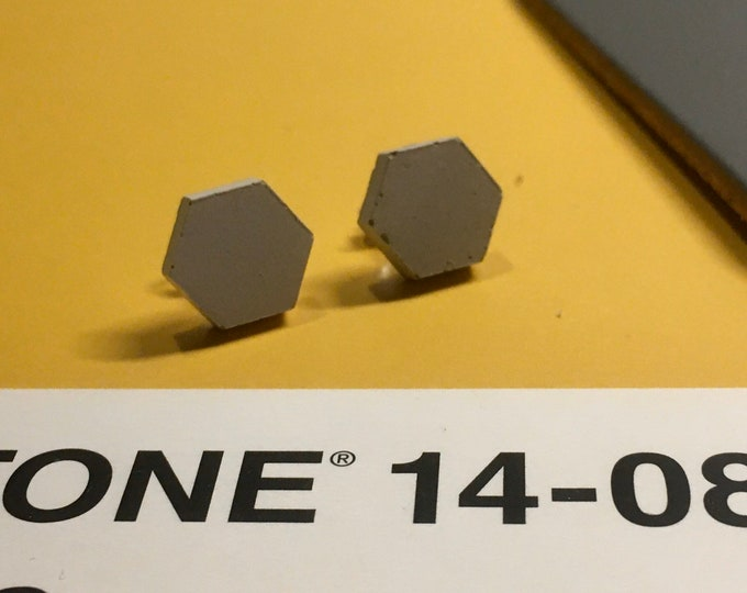 Concrete Hexagon Earrings - Stud // Concrete Earrings // Hexagon Earrings // Brutalist Earrings