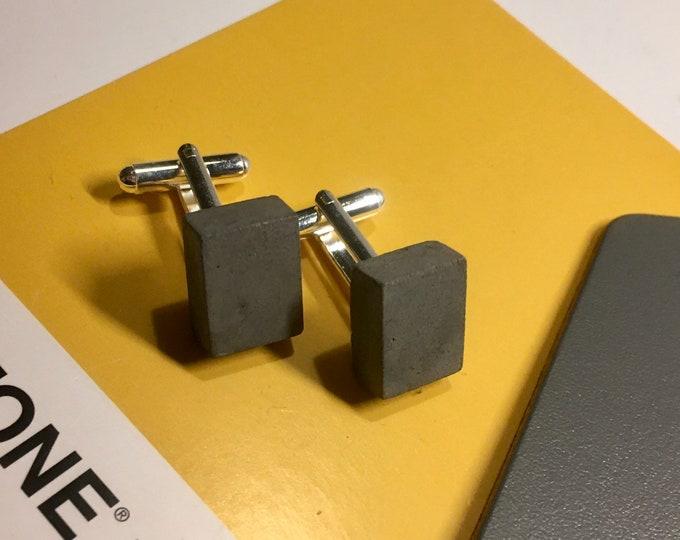 Black Concrete Cufflinks Rectangular// Architectural Cufflinks// Brutalist Cufflinks