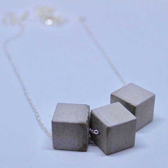 Triple Concrete Cube Necklace Long//Concrete Bead Necklace//Statement Necklace//Industrial Necklace//Brutalist
