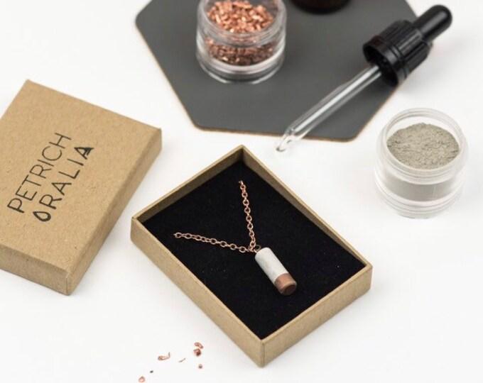 Concrete Mini Column Necklace - Copper Dipped // Concrete Necklace // Brutalist Necklace