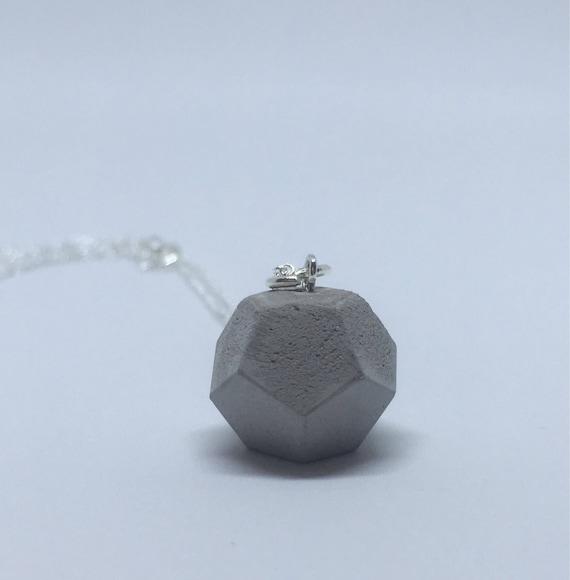Concrete Dodecahedron Necklace //Geometric Necklace//Concrete Necklace//Brutalist//Platonic Solids Necklace