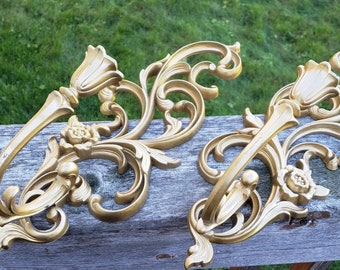 Syroco Gold Resin Sconces Mid Century Modern Set Pair, Hollywood Regency  Vtg Floral, Lot Of 2, Wall Decor 1970s HOMCO Home Interiors