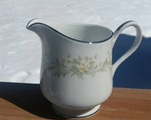 Grace Rhapsody Roses Floral Creamer Fine China Porcelain Made in Japan Floral White, Silver Trim, Olive Green and Yellow