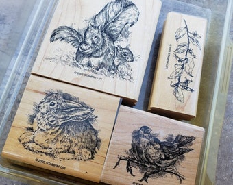 Card Making Set of 4 Stampin Up 2005 FOREST FRIENDS Wood Mounted Rubber Stamps Bunny Rabbits Birds Squirrels Branches