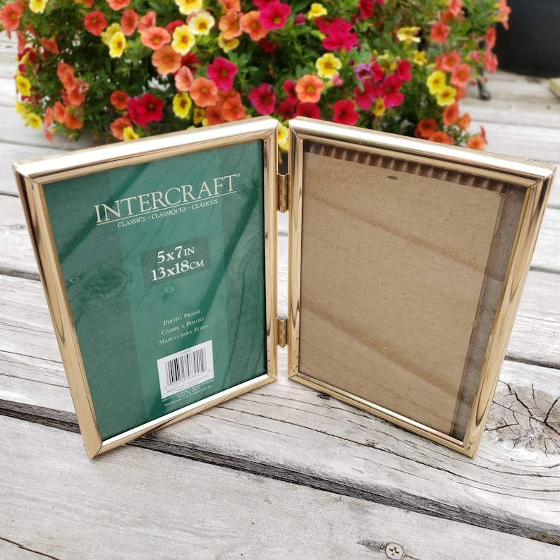 Gold Tone Double Picture Frames Intercraft Hinged Frame with Glass Set of 2 Fits 5x7 Photographs Home Decor Framing
