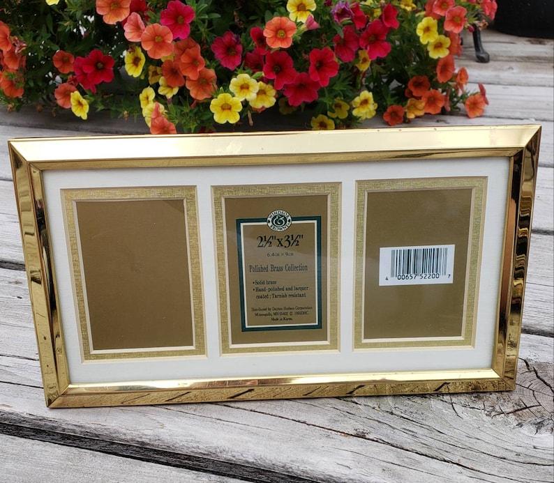Wallet Size Triple Picture Frame 2 x 3 with Matting 1993 Dayton Hudson Home Decor Photo Framing Gold Tone
