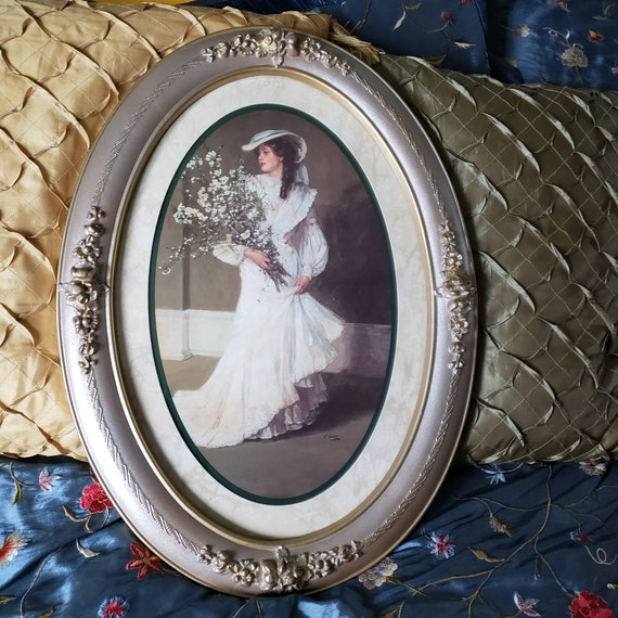 victorian picture wall decor homco home interiors lady woman etsy