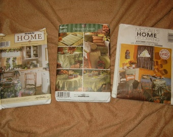 Home Decor Patterns New, Uncut Lot of 3 Set Christopher Lowell Accessories 3695, Simplicity 8690, McCall's Home Decorating 3142