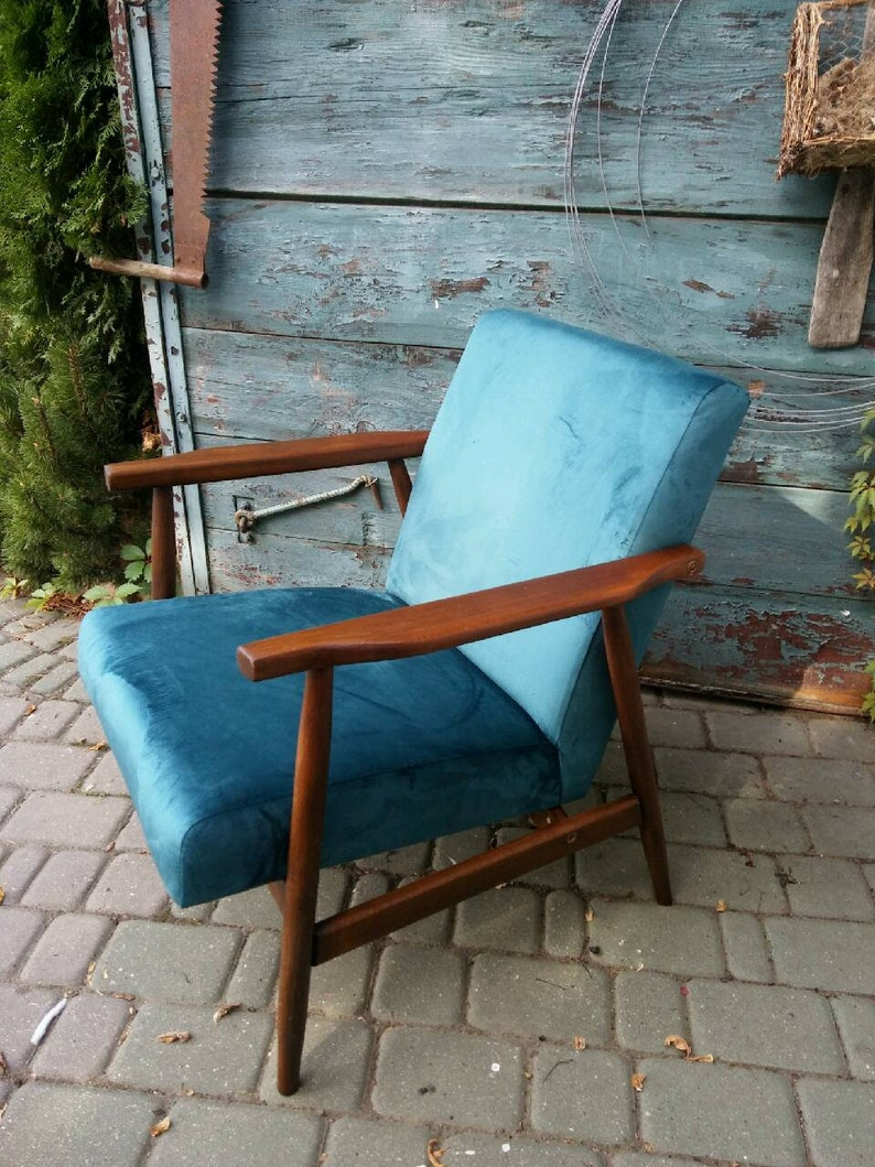 Custom Order Mid Century Blue Velvet Armchair 1960u0027 In Dark Blue