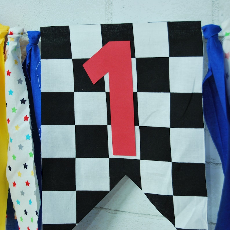 Race Car Party Decor Custom Parties by PartyAtYourDoor on Etsy Checkered Flag Banner Race Car High Chair Banner Race Car First Birthday