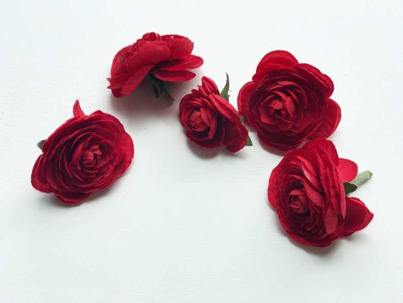 Five red artificial flowers red flower head artificial image 0