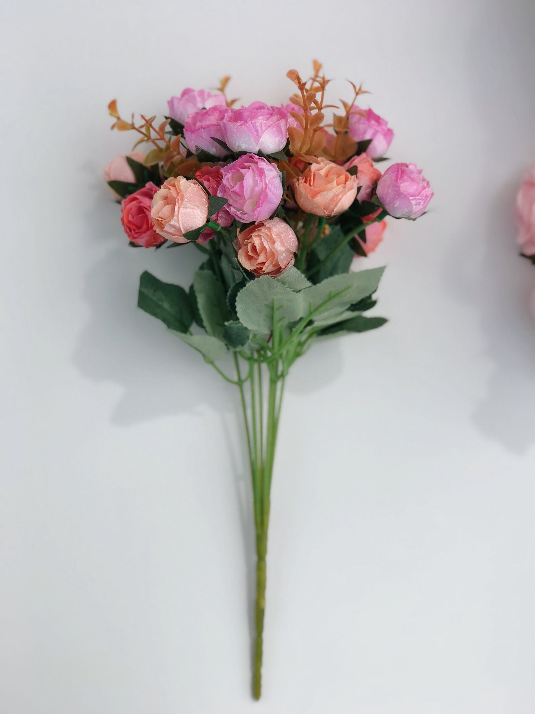 Pink And Coral Artificial Rose Bouquet Pink Artificial Flower Etsy
