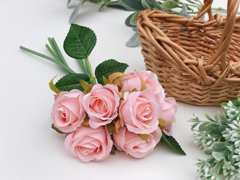 Pink artificial rose bouquet pink artificial flower bundle image 0