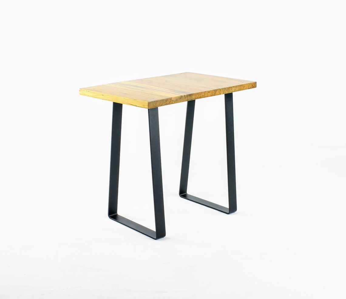 Steel End Table Legs/Night Stand Legs/Wide Base Trapezoid/Set of Two/Black Powdercoat Finish/Choose Height and Width Dimensions/Made in USA