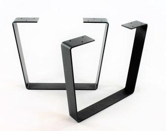 Set of 2 Heavy Duty Steel Coffee Table Legs, Wide-Top Trapezoid, Industrial Table Legs