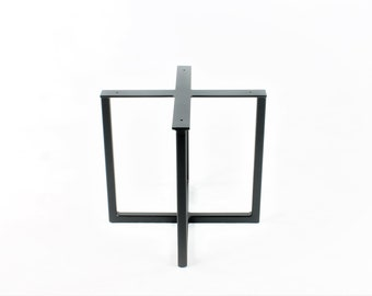 """Coffee Table Base/End Table Base/Marble/Granite/Live Edge Tops/Satin Black Powdercoat Finish/1"""" x 1"""" Square Tubing/Choose Exact Height/Width"""