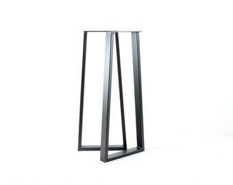 Steel Tubing Bar Legs/Wide Base Trapezoid/Black Powdercoat Finish/Heavy Duty 2.5 x 1 Rectangular Tubing/Choose Height and Width/Made In USA