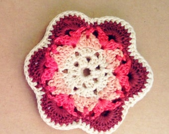 Coin Purse ~ Ear bud pouch ~ Wallet ~ Change Purse Cute Bohemian ~ Pink Crochet Flower