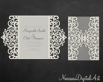 8809c0ae35d60 SVG Gate fold Wedding Invitation Card Template, 5x7 Quinceanera, laser cut,  Vector DXF, EPS cutting file, Silhouette Cameo, Cricut