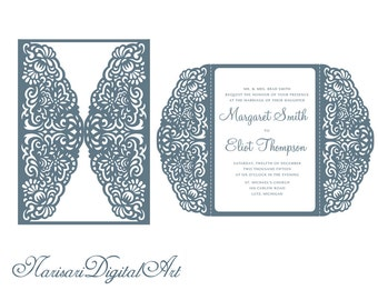 Wedding Invitation 5x7 Gate Fold Card Template Quinceanera