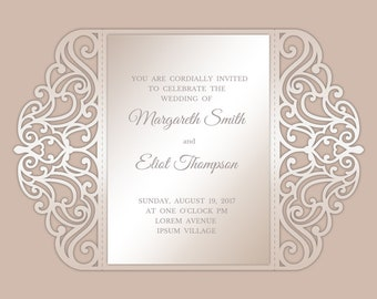 390d5f6145310 Gate-fold Wedding invitation template - Laser Paper Cut envelope - SVG,  DXF, AI Silhouette Cameo - Cricut files - Instant Download