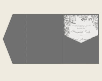 Tri Fold 5x7 Wedding Invitation Pocket Envelope Svg Template Etsy