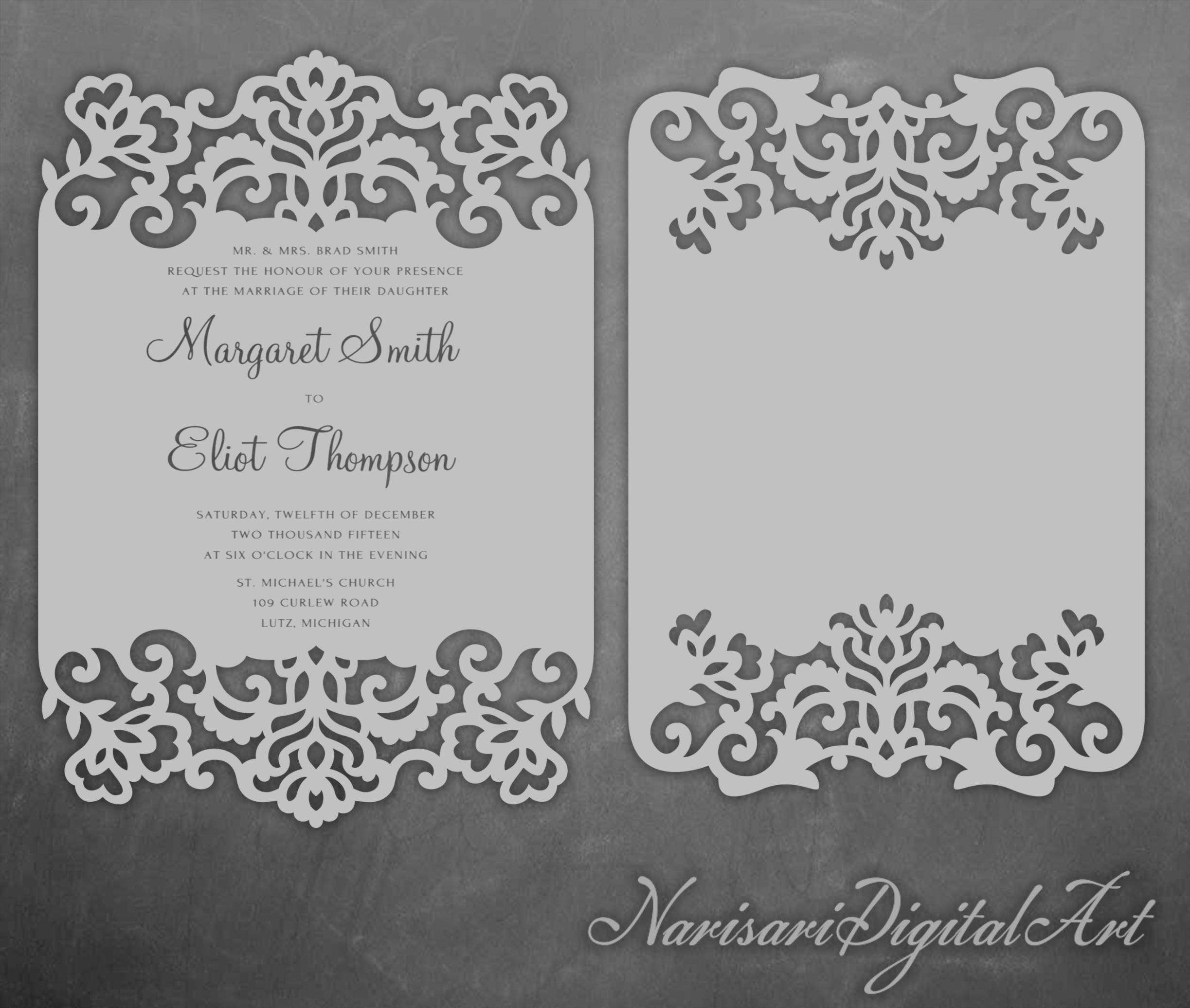 Laser cut Lace cards 5x7\'\' Wedding Invitation frame | Etsy