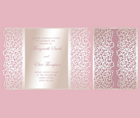 Floral Lace Gate Fold Laser Cut Wedding Invitation Template Quinceanera Envelope DXF DWG SVG Cutting File Silhouette Cameo Cricut