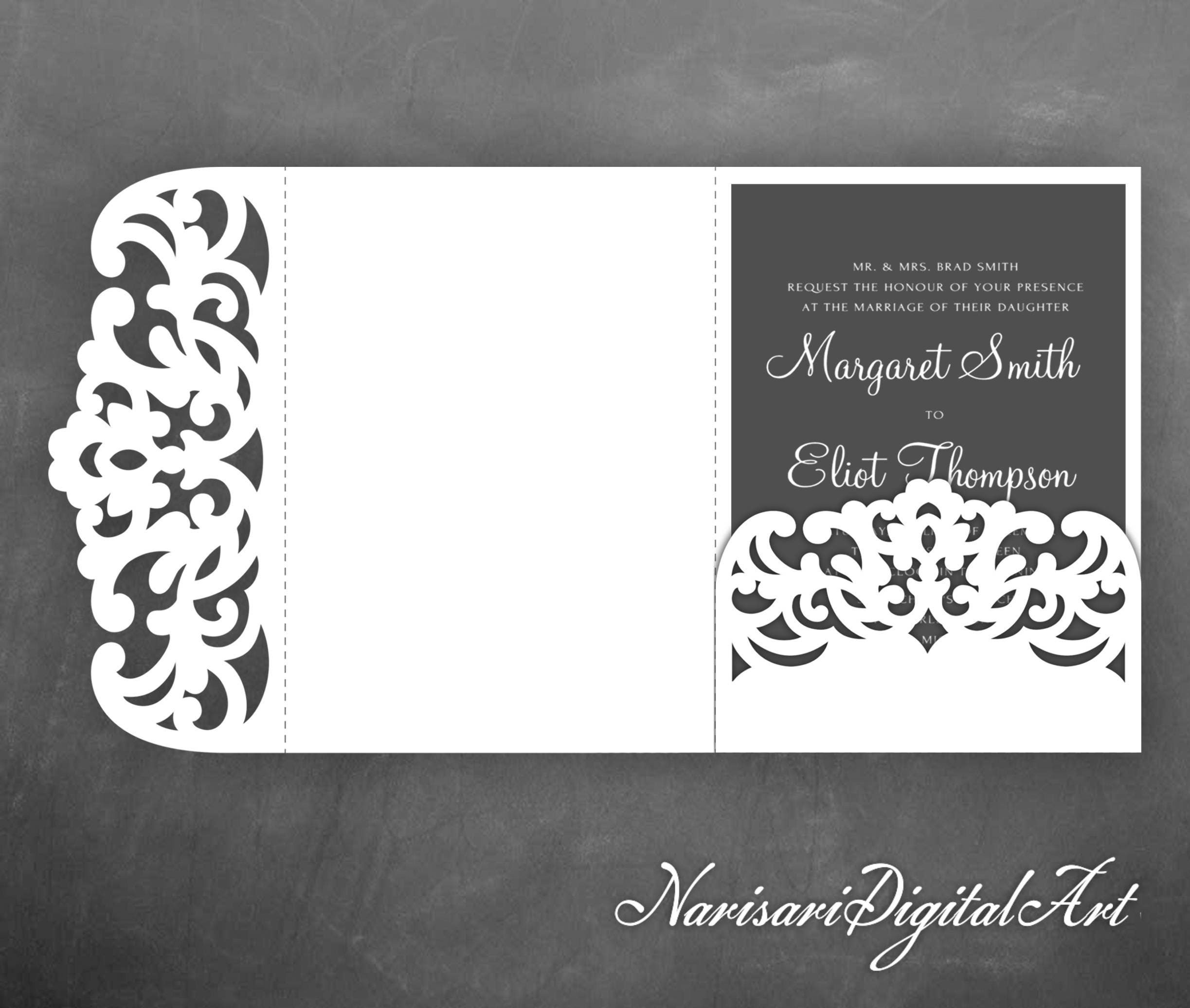 Tri-Fold pocket envelope 5x7 Wedding Invitation SVG Template | Etsy