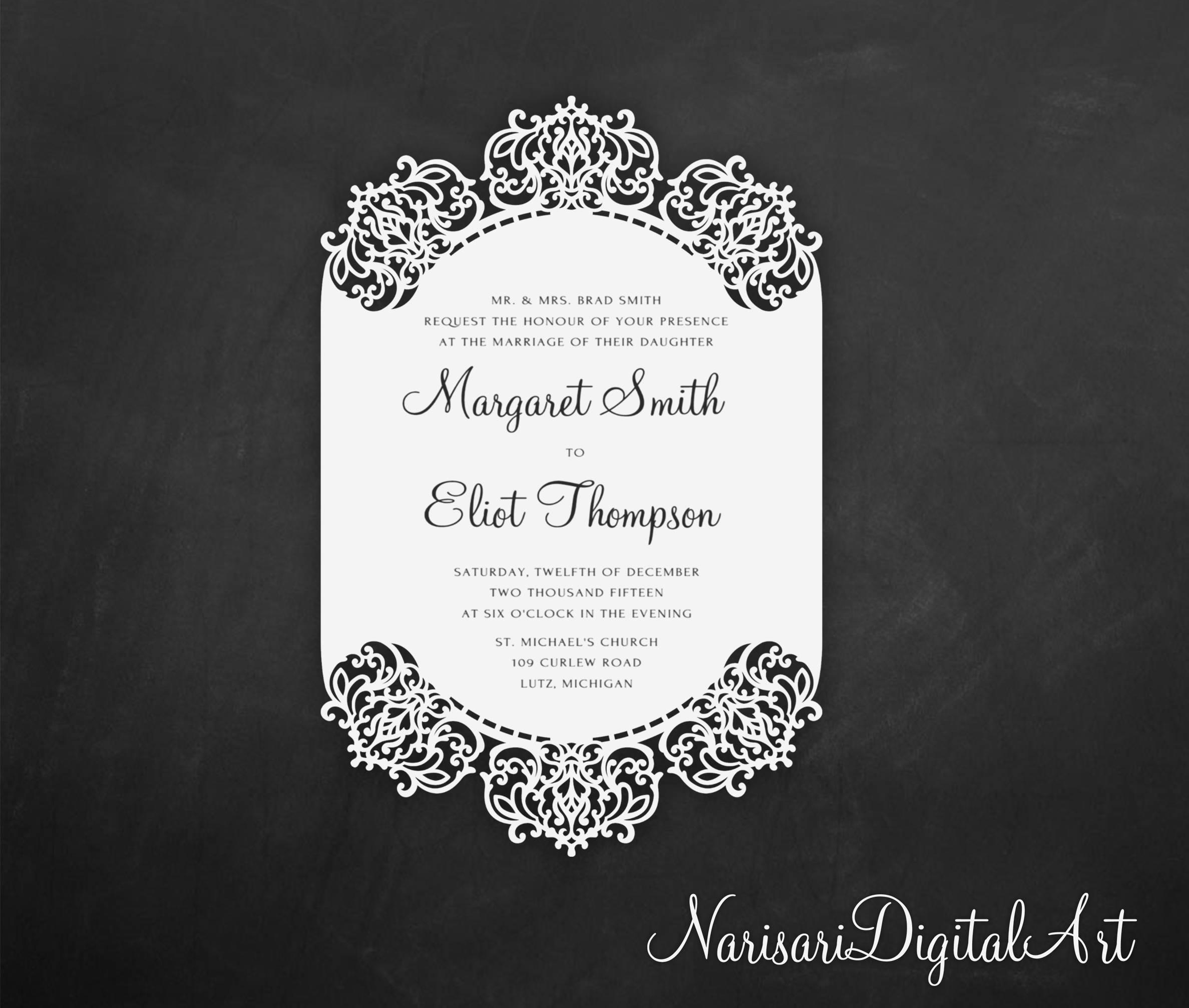 Delicate Lace border laser cut Wedding Invitation Card | Etsy