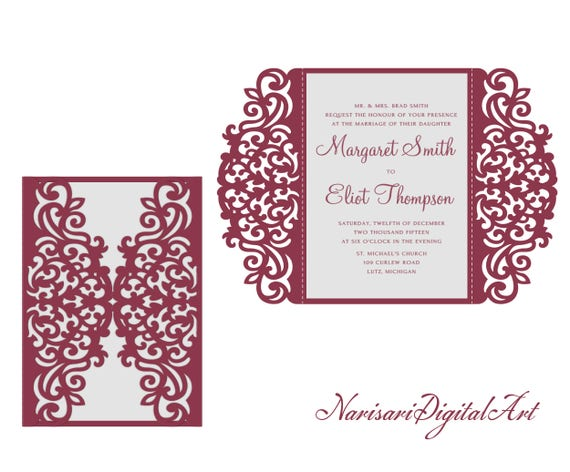 5x7 Svg Dxf Cdr Gate Fold Wedding Invitation Card Laser Cut Template Quinceanera Vector File Pattern Silhouette Cameo Cricut