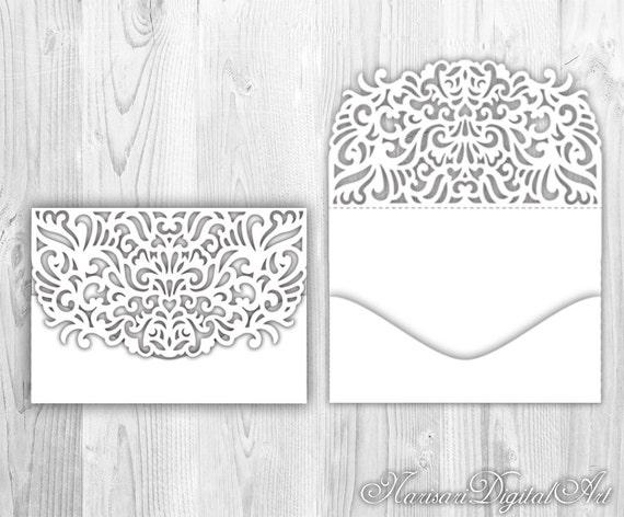 wedding invitation pocket envelope 5x7 cricut silhouette etsy