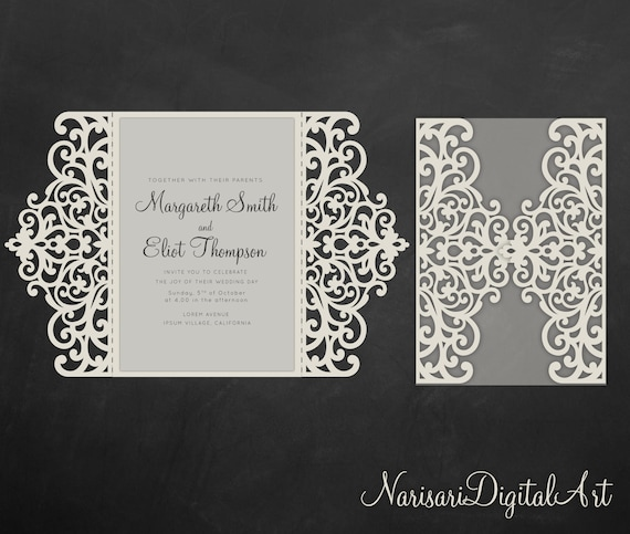 Svg Gate Fold Wedding Invitation Card Template 5x7 Quinceanera Laser Cut Vector Dxf Eps Cutting File Silhouette Cameo Cricut