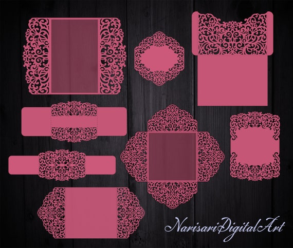 Set Intricate Wedding Invitation Laser Cut Templates Card Envelope Belly Band Svg Dxf Eps Cutting Files Silhouette Cameo Cricut