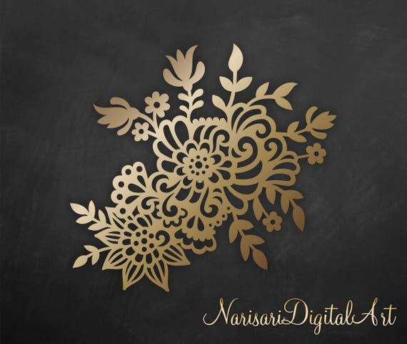 Floral paper cut template doodle flowers laser cutting file etsy image 0 mightylinksfo